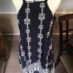 Beautiful navy and white spaghetti strap dress.